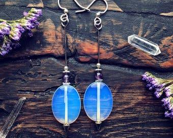 Iridescent Opalite & Amethyst Earrings