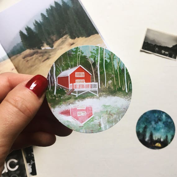 Red Cabin Sticker