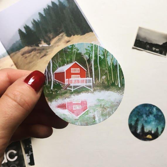 Red Cabin Sticker