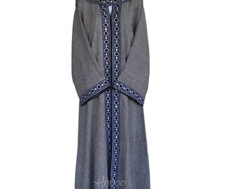 GREY Embroidered Open-Front  Flare Sleeves Dubai Abaya Sz 54 56 58