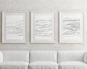 Set Of Three \ Wall Art Print \ Minimalist Art \ Bedroom Decor \ Abstract  Canvas