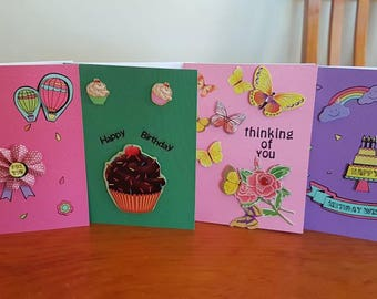 Handmade greeting cards- Set of four Just Because