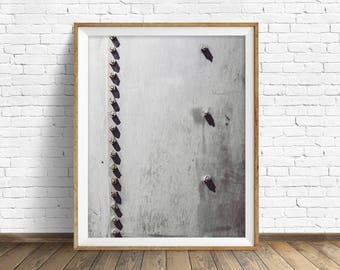 "black and white photography, large art, printable art, instant download printable art, digital download, industrial wall art -""Rivets No. 2"""