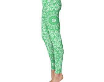 Emerald Green Yoga Leggings - Green Leggings, Green and White Printed Leggings, Mandala Art Tights, Green Stretch Pants