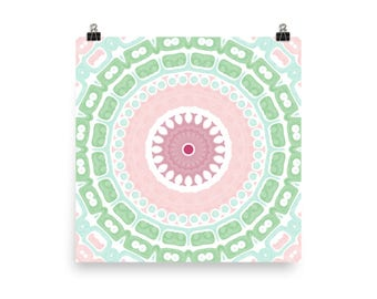 Cute Wall Art, Abstract Girly Home Decor in Green and Pink, Mandala Art Print