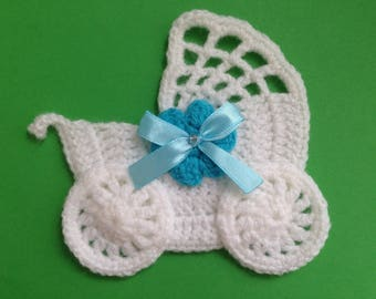 Crochet stroller,pushchair applique,embellishment,motif,sewing,for baby blankets,craft,blue