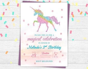 Unicorn invite | Etsy