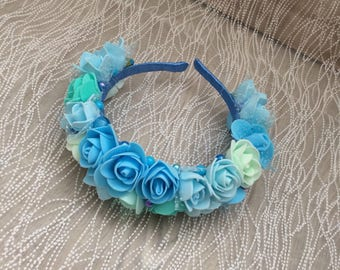 Floral hairband with blue and mint roses.  For special occassions wedding party hen party and birthday