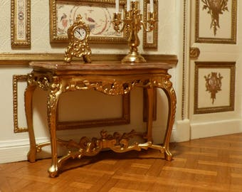 Console Golden - style Louis XV scale 1: 12 Miniature furniture Dollhouse decor French