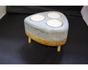 Greenlandic Soapstone Wooden Tea Light Candle Holder Home Decor