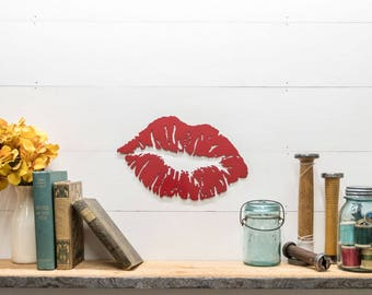 Red Lipstick Kiss Lips Decor