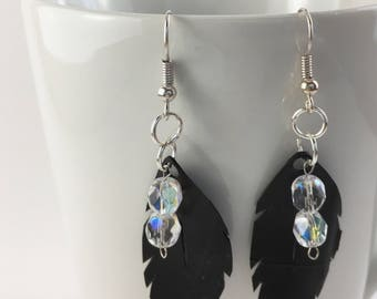 Recycled feather inner tube bicycle earrings with crystal beads