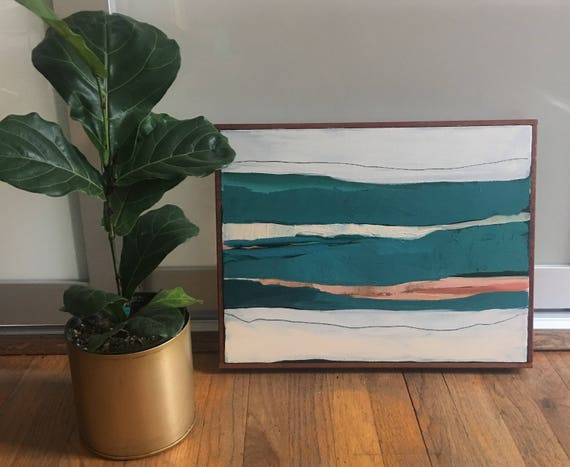 Original Framed Abstract Art - Turquoise Seascape