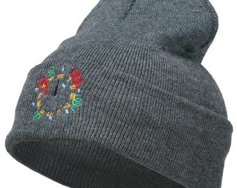 Clock with Decorations Embroidered Long Beanie