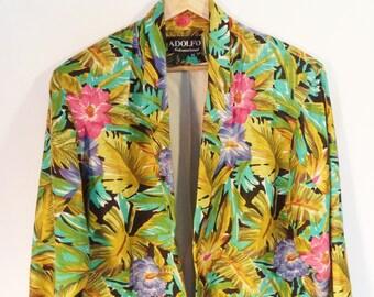 Vintage Adolfo oversize linen blazer// 80s-90s tropical Hawaiian floral long structured  jacket// Women's size medium