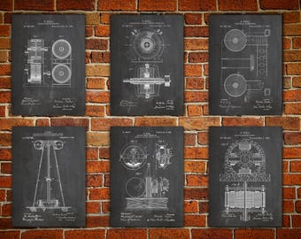 Tesla Art Prints, Patent canvas pirnt, Nikola Tesla, Tesla Art Poster, Nikola Tesla Art, Tesla Patent Print, Tesla Patent,Gift idea Set of 6
