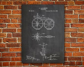 Bicycle Patent Canvas painting, First Bicycle Poster, Bicycle Poster, Bicycling Wall Art, Bicycle Wall Art, Bicycle Wall Print, Bike