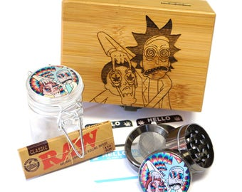 "Rick - Morty Laser Etched Sacred Geometry Stash Box, 1.6"" Zinc Alloy Grinder, Small Stash Jar - ALL IN ONE Box Package Item# WBCS011618-2"