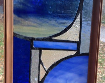 "blue stained glass  6.5"" x 8"""