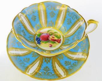 Paragon fruit art deco Tea cup and saucer,  Exquisite Gold Orchard Fruit tea cup, feather gilt SQUARE tea cup, Turquoise Blue fruit tea cup