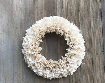 Muslin rag wreath- farmhouse wreath- cotton wreath- farhouse decor- rustic wreath- wedding wreath- christmas wreath- fall wreath
