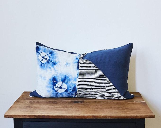 """Vintage Japanese Indigo tie-dye shibori SASHIKO fabric pillow 16"""" x 26"""""""