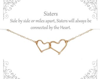 Personalized linked Heart necklace | 2 3 4 Sisters | Gift for Sisters | Sister necklaces | Bridesmaids | Soul Sisters