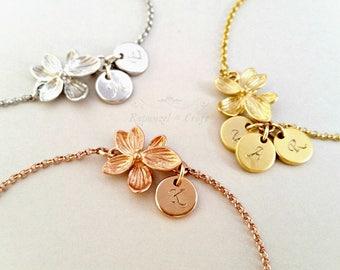 Custom Flower Initial bracelet | Personalized Monogram bracelet | Bridesmaids bracelet | 2 3 4 Sister Bracelet | Mom Bracelet