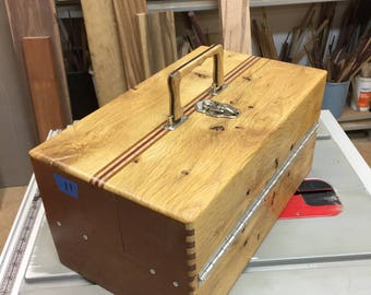 Handmade wooden fishing tackle box
