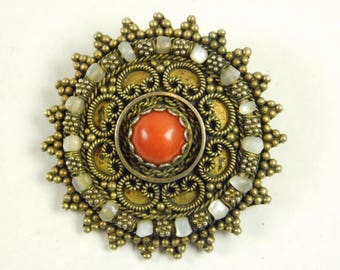 Vintage Artisan Israel Coral 925 Sterling Silver Filigree Mother of Pearl Beads Vermeil Brooch Pin Pendant Orange Stone
