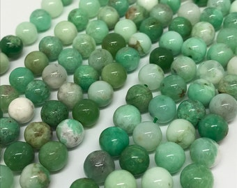 8MM Chrysoprase Smooth Round Beads, AA quality , natural gemstone beads. Length 15.5 Inch
