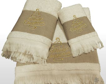 Top Quality Beige Xmas Bath Towels Set - Ref. Linen Christmas