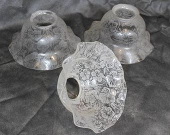 Three Frosted Floral Design Glass Lamp Shades