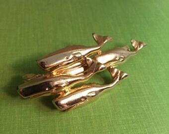 Vintage brass tone whale barrette