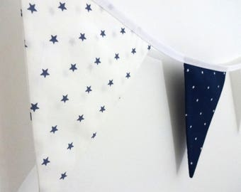 Bunting - blue and white - stars - 100% cotton