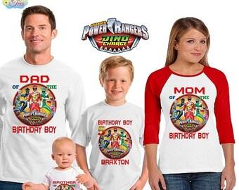 15% Off Power Rangers inspired family birthday theme shirt/power ranger dino charge birthday shirt/vacation shirt/dino charge power rangers