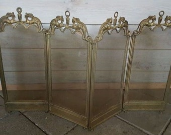 Antique French Gothic Dragon Fireguard / Fireplace Screen, foldable 1920s