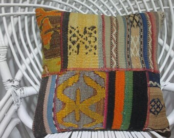 made by Sarikaya Turkish kelim kissen dark color geometric striped kilim patchwork kilim pillow 16x16 anatolian Turkish kilim pillow  3955