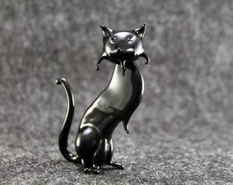 Cute Glass cat Figurine Glass Cat Glass Animal Sculpture Glass Figurine Glass Figure Glass Animals Glass Figurines Glass Figures Cat(lc1)