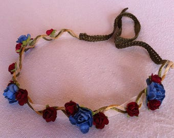 Blue and Red Rose Flower Crown
