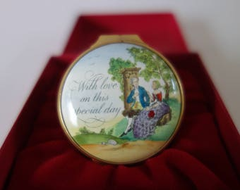 """Halcyon Days trinket box """"With love on this special day"""""""