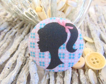 x 1 cabochon 19mm silhouette face BOUT3 fabric