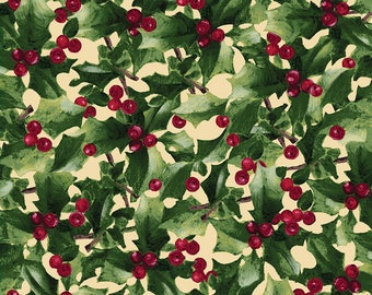 Home for the Holidays - Per Yd - Clothworks by Sue Zipkin - Holly