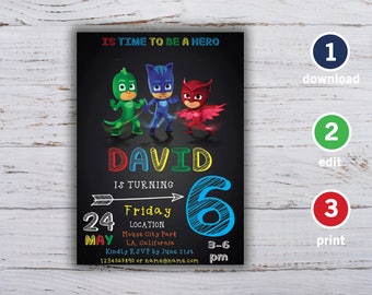 PJ Masks Invitation, PJ Masks Birthday, PJ Masks Party, pj masks card, pj masks printable, pj masks boy, pj masks invitations, boy invite