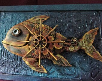 Origninal Steampunk fish one of a kind wall art or easal art gift - free easel