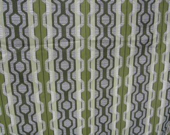 A Pair of Green and White Geometric Curtains