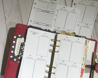 Weekly and Monthly Personal Planner Insert Kit | Week On Two Pages | WO2P MO2P| Monthly Overview| Vertical | Dated Inserts
