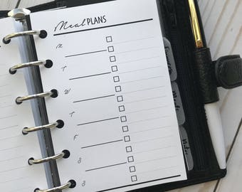 Meal Planning Grocery List Printed Planner Inserts | Pocket Size Planners WO1P