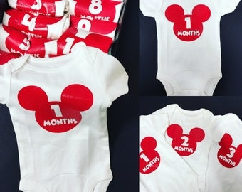 Baby Monthly Onesies, Baby Shower, Birth, Baby Monthly Onesies Mickey's Mouse