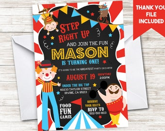 Circus Invitation First Birthday Invite Themed Digital Carnival 5x7 Fair County